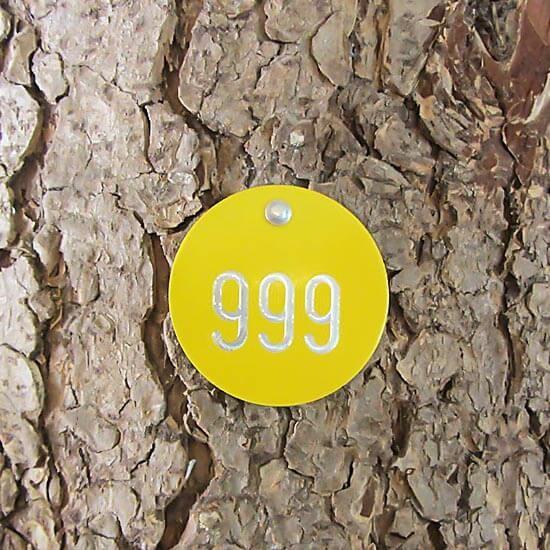 Alu Tree Number Badge Round 50 mm